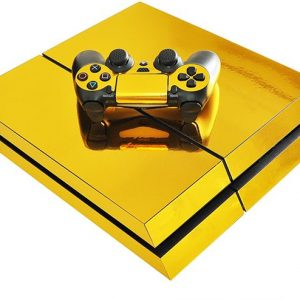 Pure gold plating Skin Stickers For Playstation 4 PS4 Console with Controller Cover Decals