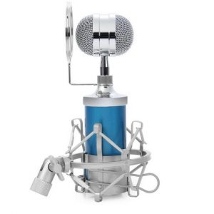 Blue Condenser Wired Microphone With Plug Stand Holder Pop Filter for KTV Karaoke Studio Recording