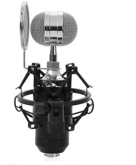Black Condenser Wired Microphone With Plug Stand Holder Pop Filter for KTV Karaoke Studio Recording