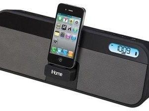 iD28: iHome App-enhanced, rechargeable portable speaker system with FM stereo clock radio, for iPad, iPhone and iPod