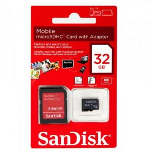Sandisk 32 GB Class 4 Micro SDHC Card with Adapter