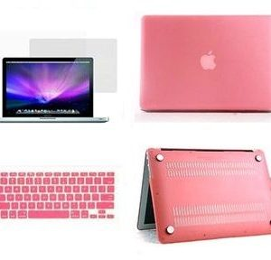 3 in 1 Matte Cyrstal Plastic Hard Case, Silicon Keyboard US Layout and Screen Guard for MacBook Air 13 Inch [Pink]