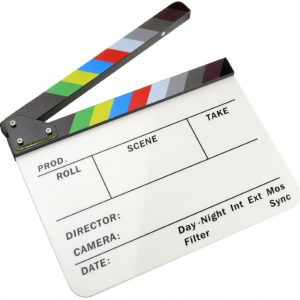 Camera House Acrylic Dry Erase Director's color film clapboard (9.85x11.8