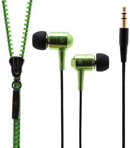 3.5MM Zipper Stereo In Ear Headset Earphone for iPhone iPad Samsung Sony HTC LG - Green