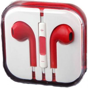 Earphones Headphones With Remote Mic Volume Controls For Apple iPad iPhone 5 5S 5C Red