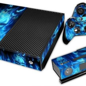 Blue Fire Skull Decal Skin Cover Sticker For Xbox One Console And Controller