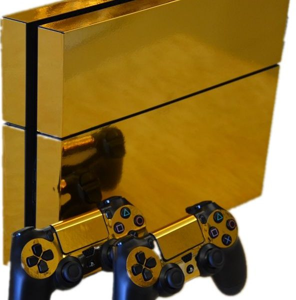 Gold Mirror Chrome Playstation 4 Glossy Vinyl Skin Sticker Decal for PS4
